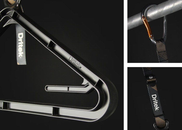 The Dritek Hanger has a unique hanger an adjustable strap and a closed hook carabiner